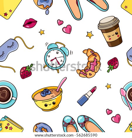Seamless Pattern With Cute Isolated Girl Elements In White Background Romantic Sweet Texture Womens