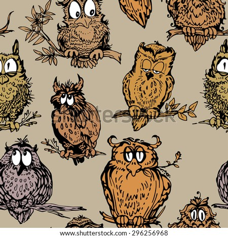 Seamless pattern with cute owls on branch. Hand drawn background. Raster version - stock photo