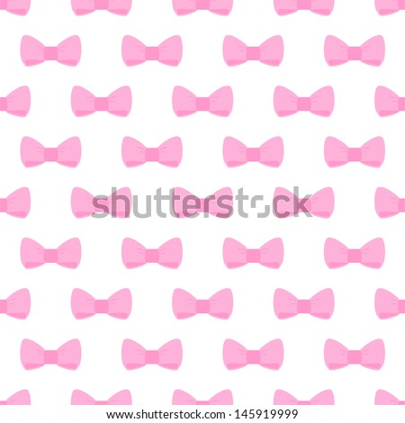 Seamless Pattern With Cute Pastel Baby Pink Bows On White Background For Web Design