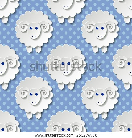 Seamless pattern with cute sheep in flat style - stock photo