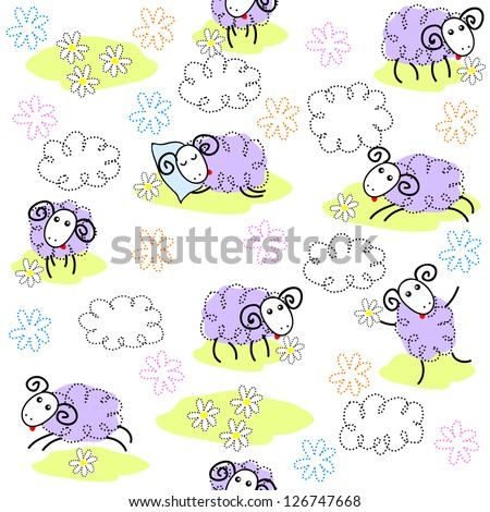 Seamless pattern with cute sheep on a meadow. Raster version. Vector is also available in my gallery - stock photo