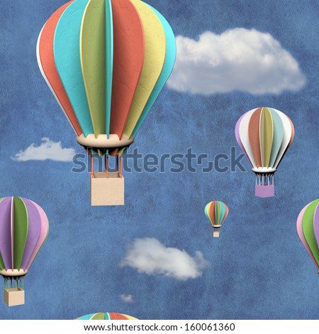 Seamless pattern with 3d air balloons in blue sky - stock photo