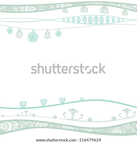 Seamless pattern with decorated waves. Place for your text - stock photo