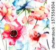 Seamless pattern with Decorative blue flower, watercolor illustration  - stock