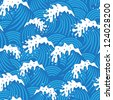 Seamless pattern with decorative blue waves. Raster version. Vector is also available in my gallery - stock vector