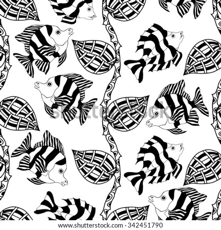seamless pattern with decorative hand drawn fish illustrations