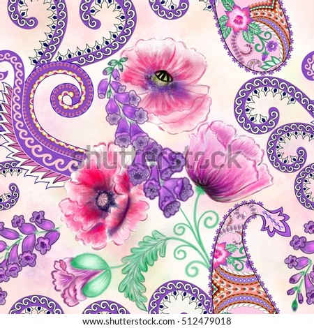 seamless pattern with decorative paisley,purple curls, decorated  pink poppy flowers and foxglove  on blurred peach  background
