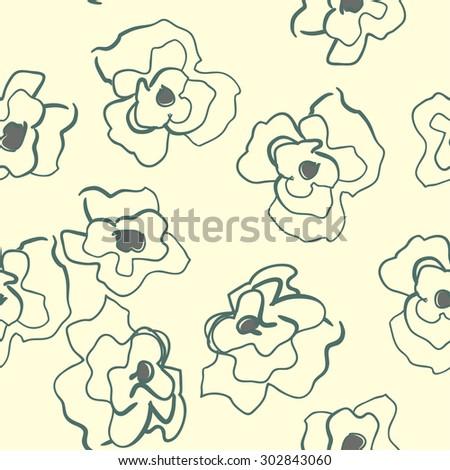 Seamless pattern with decorative poppy flowers on  background.  illustration easily editable  image - stock photo