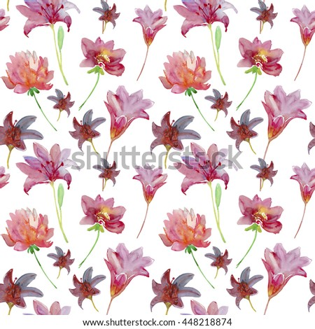 Seamless pattern with Decorative summer tropical  flowers, watercolor illustration - stock photo