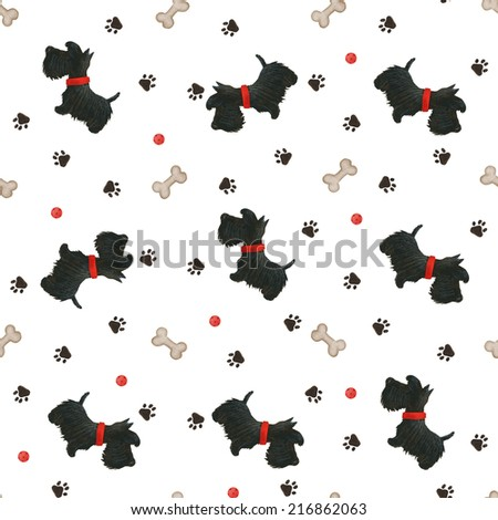 Seamless pattern with dogs