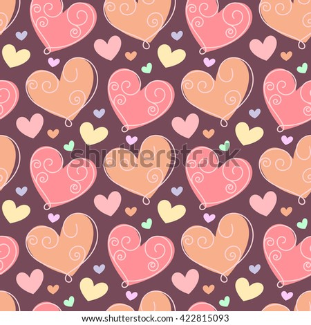Seamless pattern with doodle stylized hearts. Hand drawn illustration