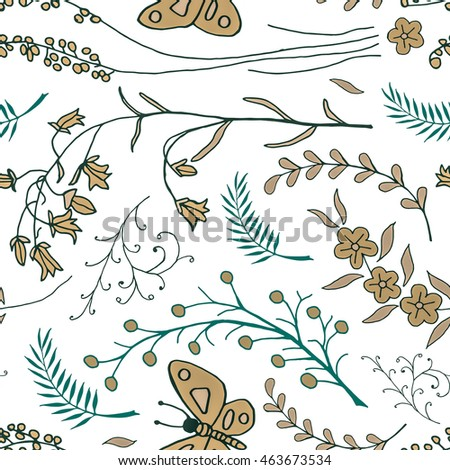 seamless pattern with doodles of flowers and butterflies. Floral background with hand drawn elements. Ornamental decorative illustration for print and web.