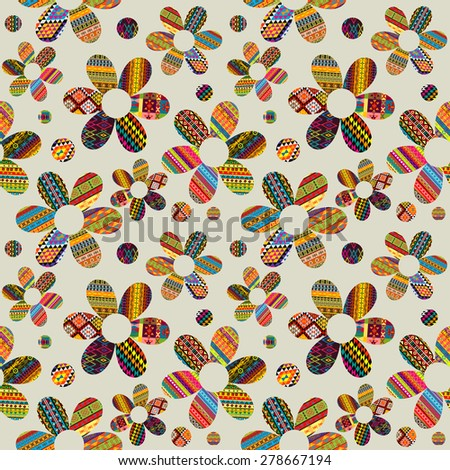 Seamless pattern with ethnic motifs patterned flowers - stock photo