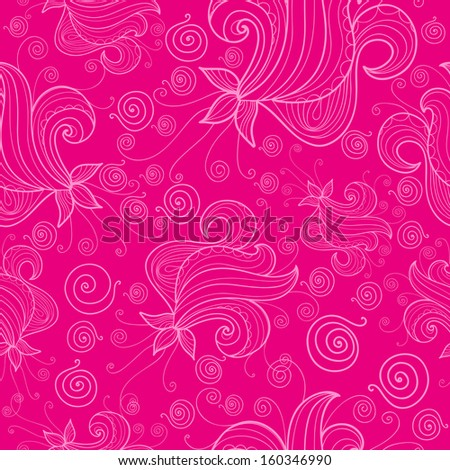 Seamless pattern with fantasy flowers on pink background. Raster copy