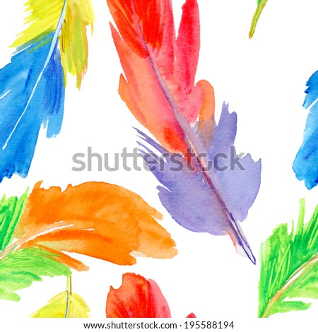 Seamless pattern with feathers. - stock photo
