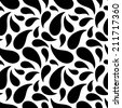 Seamless pattern with fireworks in black and white. Abstract geometric monochrome background. Endless print silhouette texture -  raster version  - stock photo