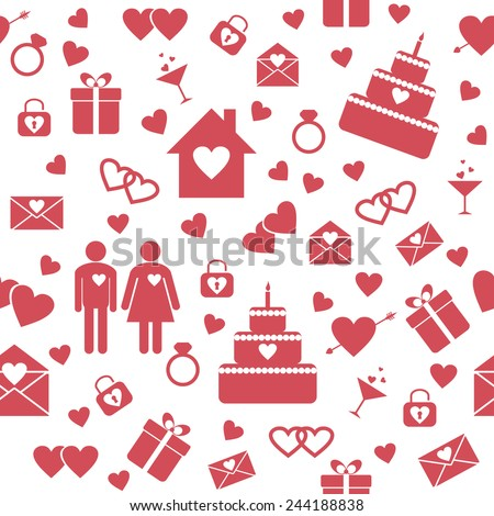 Seamless pattern with flat elements for wedding or Valentine's Day design. Raster version - stock photo