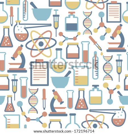 seamless pattern with flat science icons - stock photo