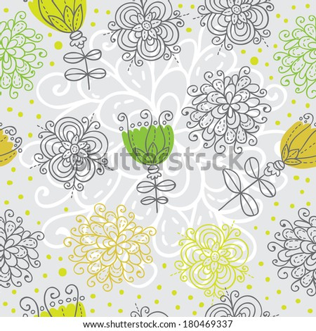 Seamless pattern with florals and flowers
