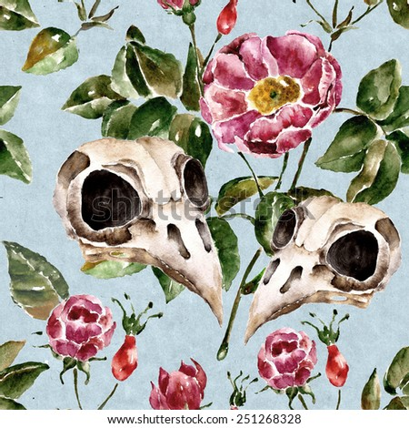 Seamless pattern with flowers and bird skull. Watercolor illustration with briar, dog-rose - stock photo