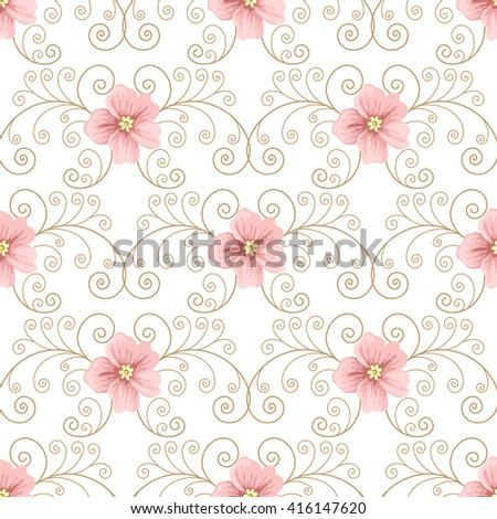 Seamless pattern with flowers and curly design elements on white background. illustration in retro style.  - stock photo