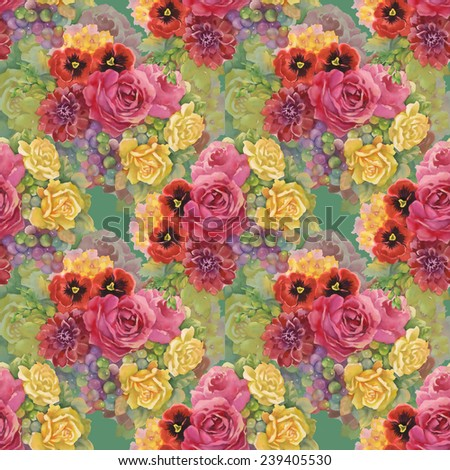 Seamless pattern with flowers and grape on green background - stock photo
