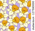 Seamless pattern with flowers daffodil (narcissus ). Raster version. Vector is also available in my gallery - stock photo