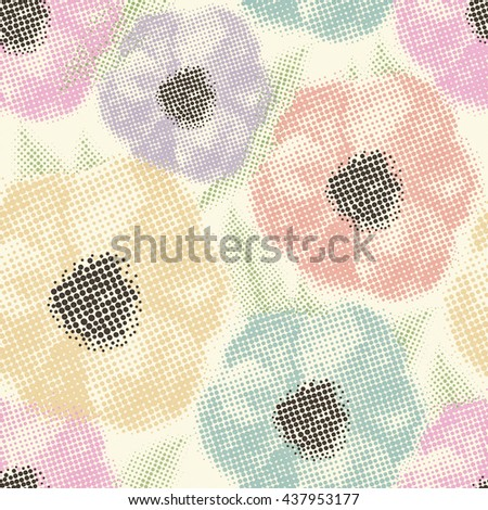 Seamless pattern with flowers halftone background.