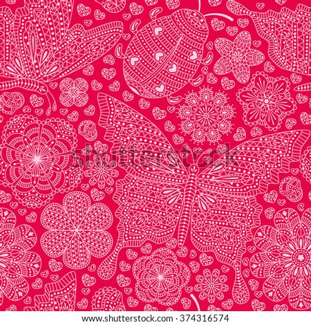 Seamless pattern with flowers, hearts and butterflies. Romantic floral background in pink colors.