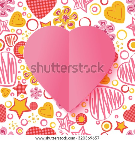 Seamless Pattern with Flowers, hearts, stars and a Pink Paper Heart Symbol in the middle. Happy Valentine's Day.