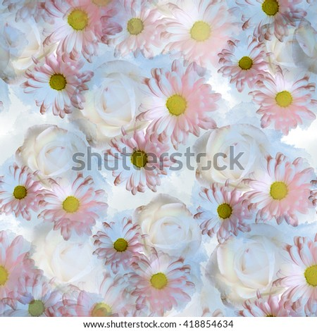 Seamless pattern with flowers. Roses and Daisies watercolor seamless background. Textile print for bed linen, jacket, package design, fabric and fashion concepts. - stock photo