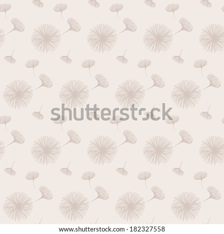 Seamless pattern with fluffy dandelions - stock photo