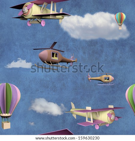 Seamless pattern with flying transportation toys - stock photo