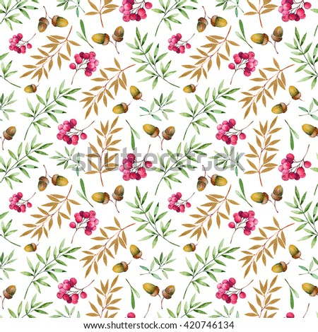 Seamless pattern with foliage, golden leaves, berries and acorns.Watercolor handpainted texture on white background. Autumn illustration.Can be used for wallpaper,texture,print,cover,blogs,wedding etc - stock photo