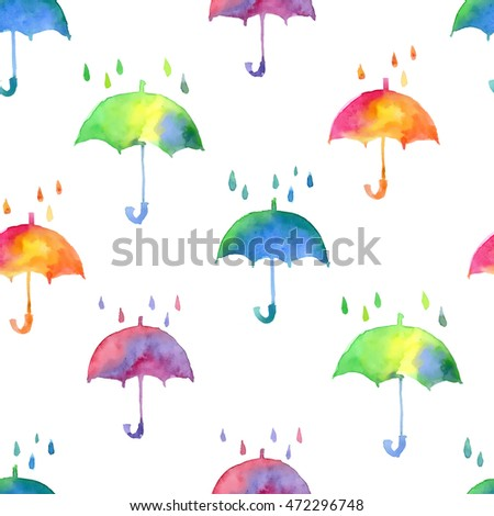 Seamless pattern with fresh bright watercolor umbrellas. Autumn fashion illustration.