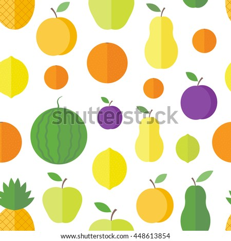 Seamless pattern with fresh fruits and berries on a white background in flat style