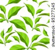 Seamless pattern with fresh green leaves on white. Raster version. - stock photo