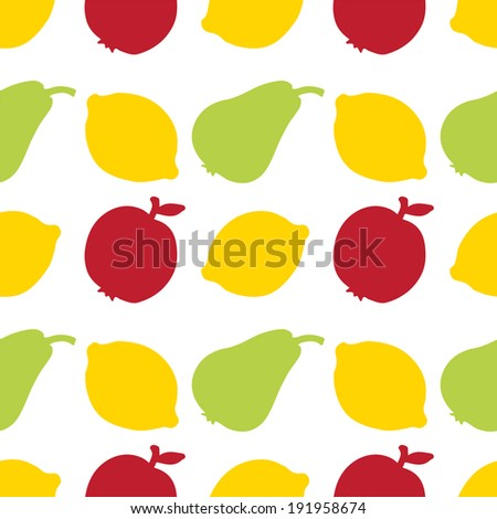 Seamless Pattern with Fruits. Apples. Lemons. Pears. Food. Endless Print Silhouette Texture. Summer. Hand Drawing. Retro. Vintage Style - raster version - stock photo