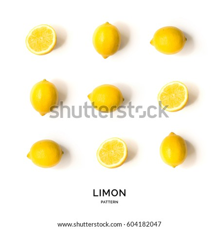 Seamless pattern with fruits. Tropical abstract background. Lemon on white background.
