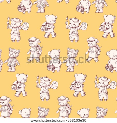 Seamless pattern with funny cartoon bears. Hand-drawn illustration.