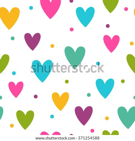 Seamless pattern with funny colorful hearts on white background, texture for web, textile or typography design - stock photo