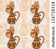 Seamless pattern with funny cute cats. Raster copy of vector image. - stock vector