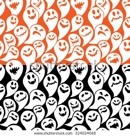 Seamless pattern with funny ghost. Happy Halloween background. Raster version - stock photo