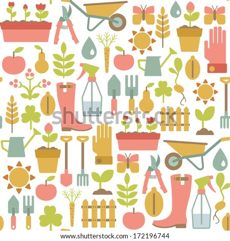 seamless pattern with gardening icons - stock photo