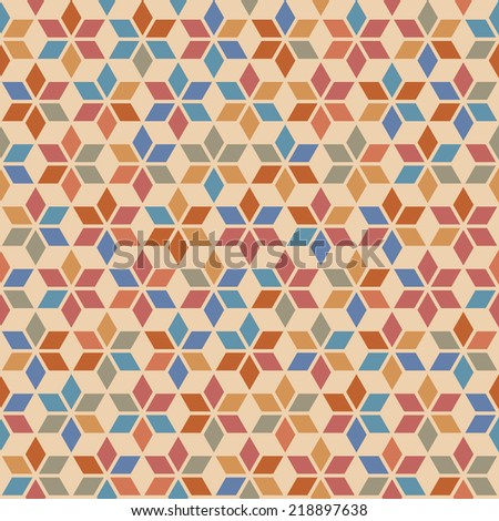 seamless pattern with geometric ethnic ornament. Color decorative illustration for print, web - stock photo