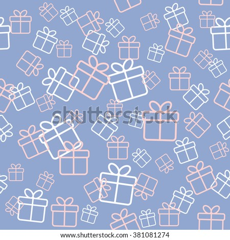 Seamless pattern with gift boxes in trendy colors serenity and rose quartz. Background for party design. Wallpaper, wrapping pattern. Raster version - stock photo