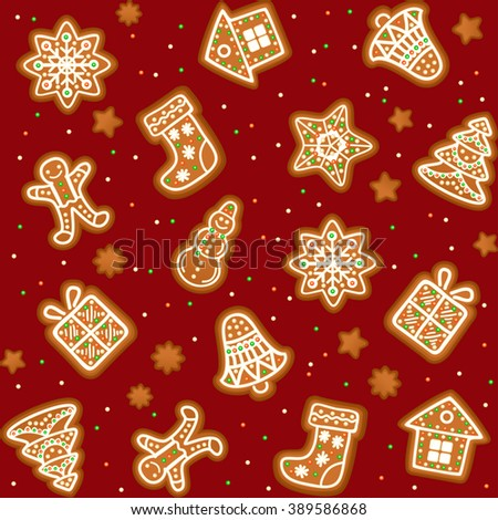 Seamless pattern with Gingerbread Christmas cookies decorated icing. Holiday cookie in shape of Christmas Xmas tree, star, bell, sock, gingerbread men, snowflake, snowman and gift.  - stock photo