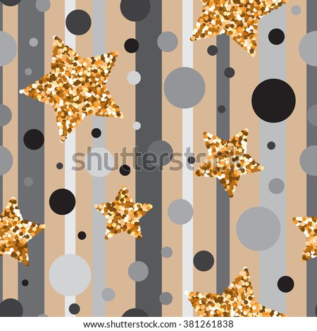 Seamless pattern with gold glitter textured stars and circles on grey and brown background .