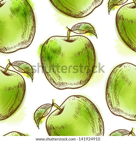 Seamless pattern with green apple. Painted in watercolor style. Raster version. Vector is also available in my gallery - stock photo