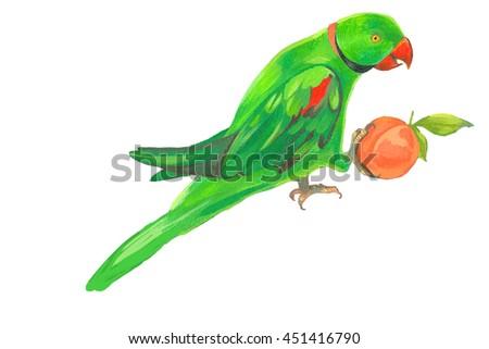 seamless pattern with green parrot, painting - stock photo